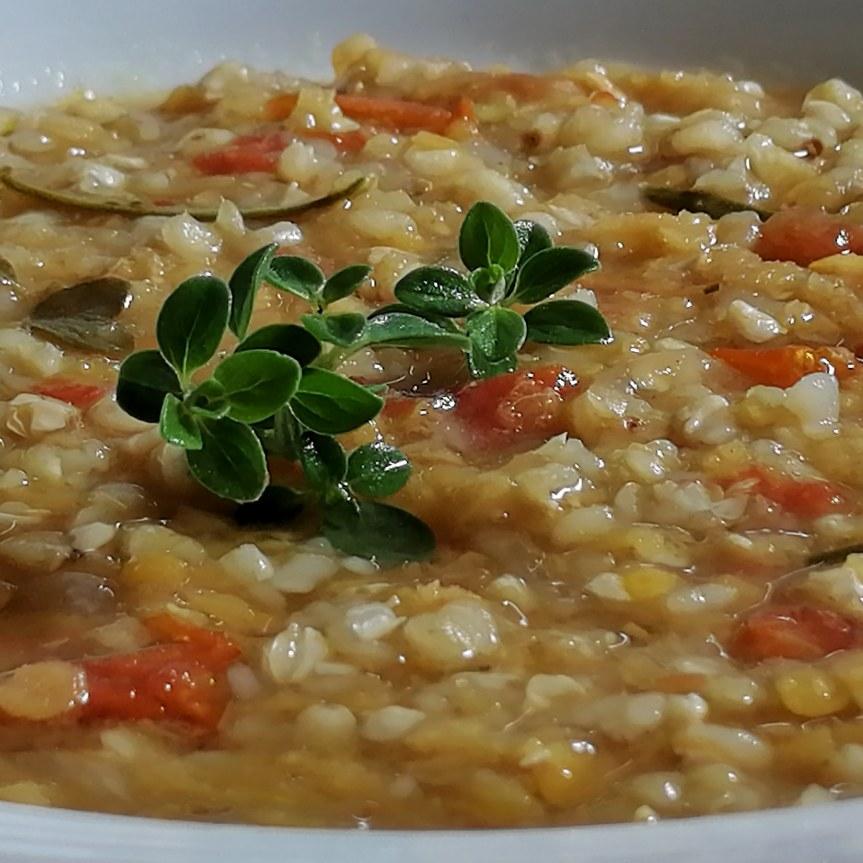 zuppa di grano saraceno e lenticchie rosse